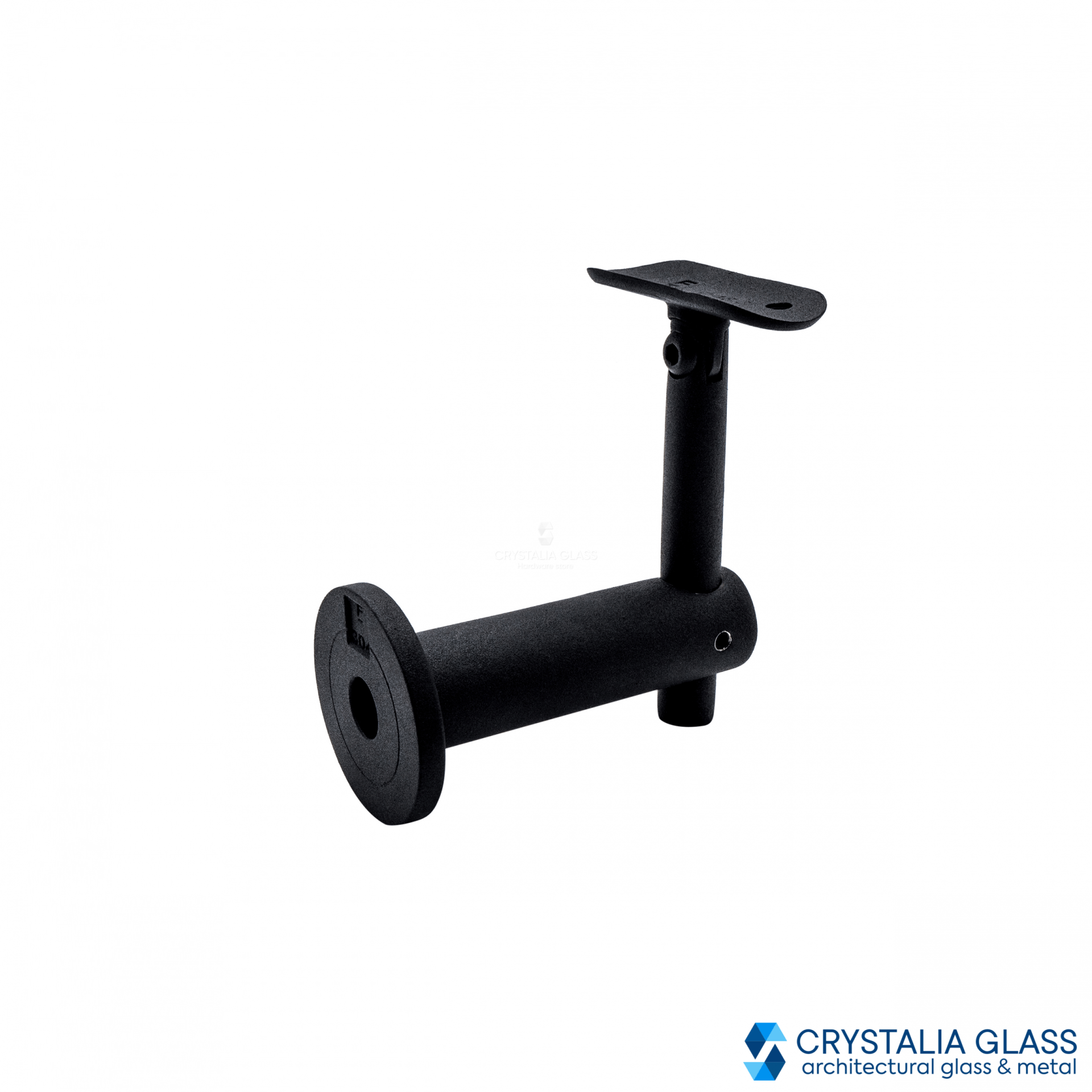 CG Black Matte Wall Mounted Hand Rail Bracket with Round Saddle