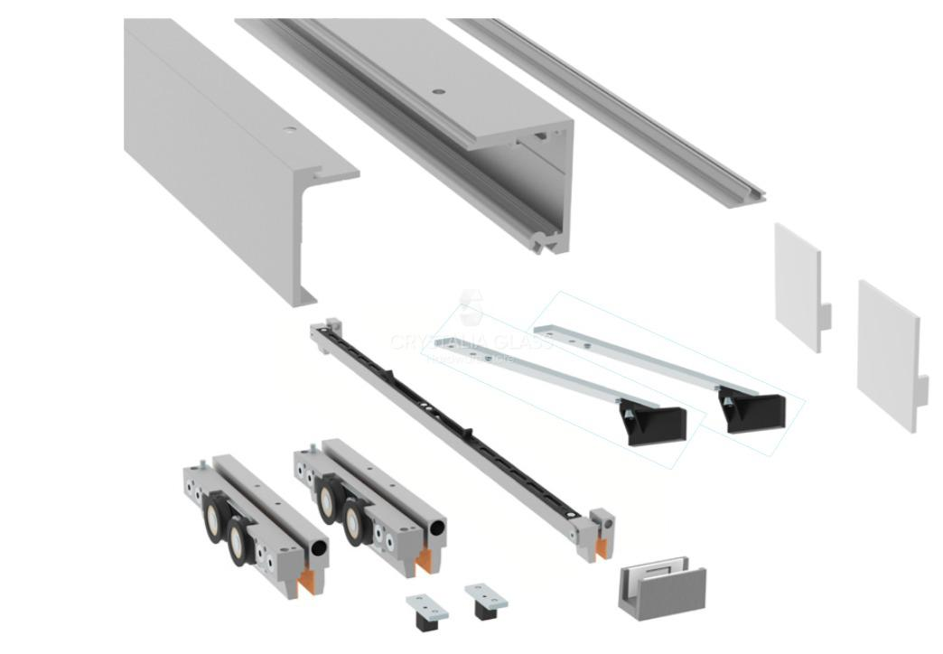 CGS 200 Series Satin Anodized Single Sliding Door Kit with Fixed Panel
