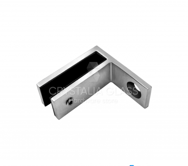 CG Brushed Stainless Wall Mount 90 Degree Glass Clamp