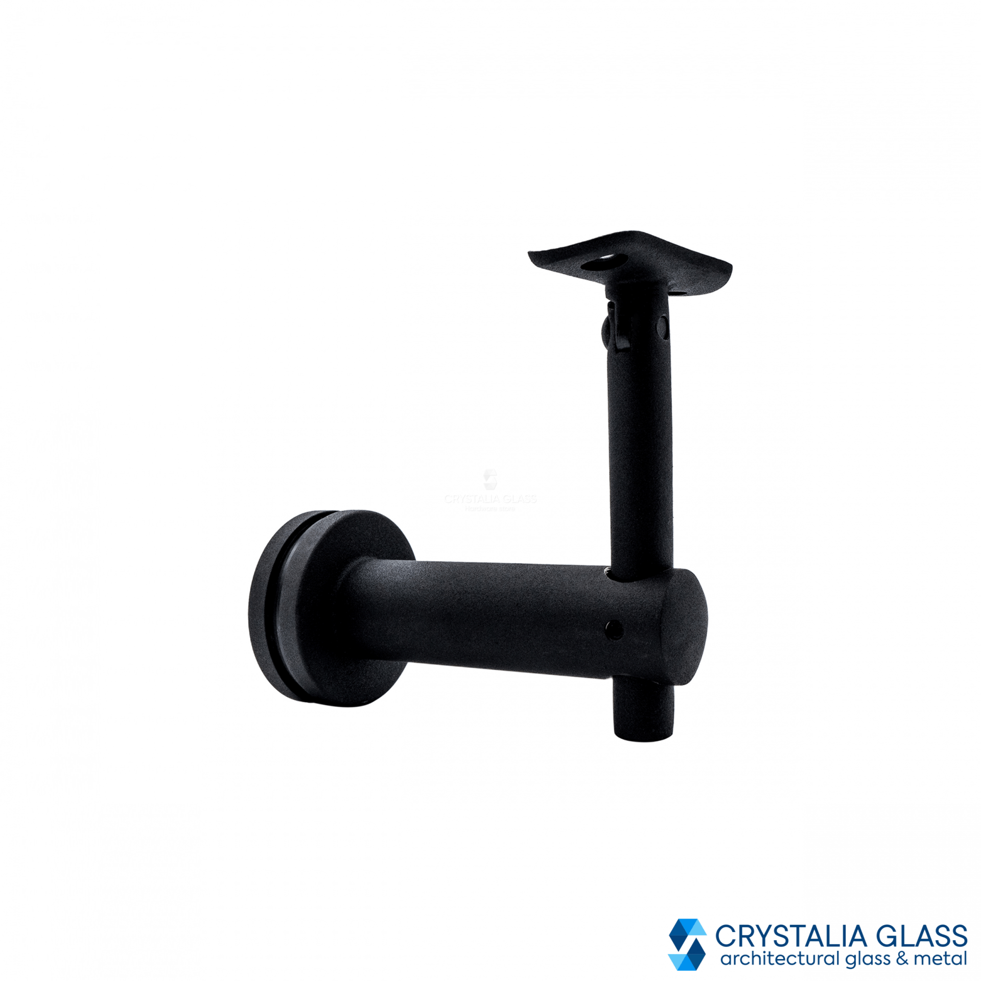 CG Black Matte Glass Mounted Hand Rail Bracket Flat Surface
