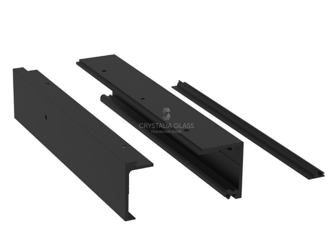 CGS 200 Series Matte Black Single Sliding Door Kit with Fixed Panel